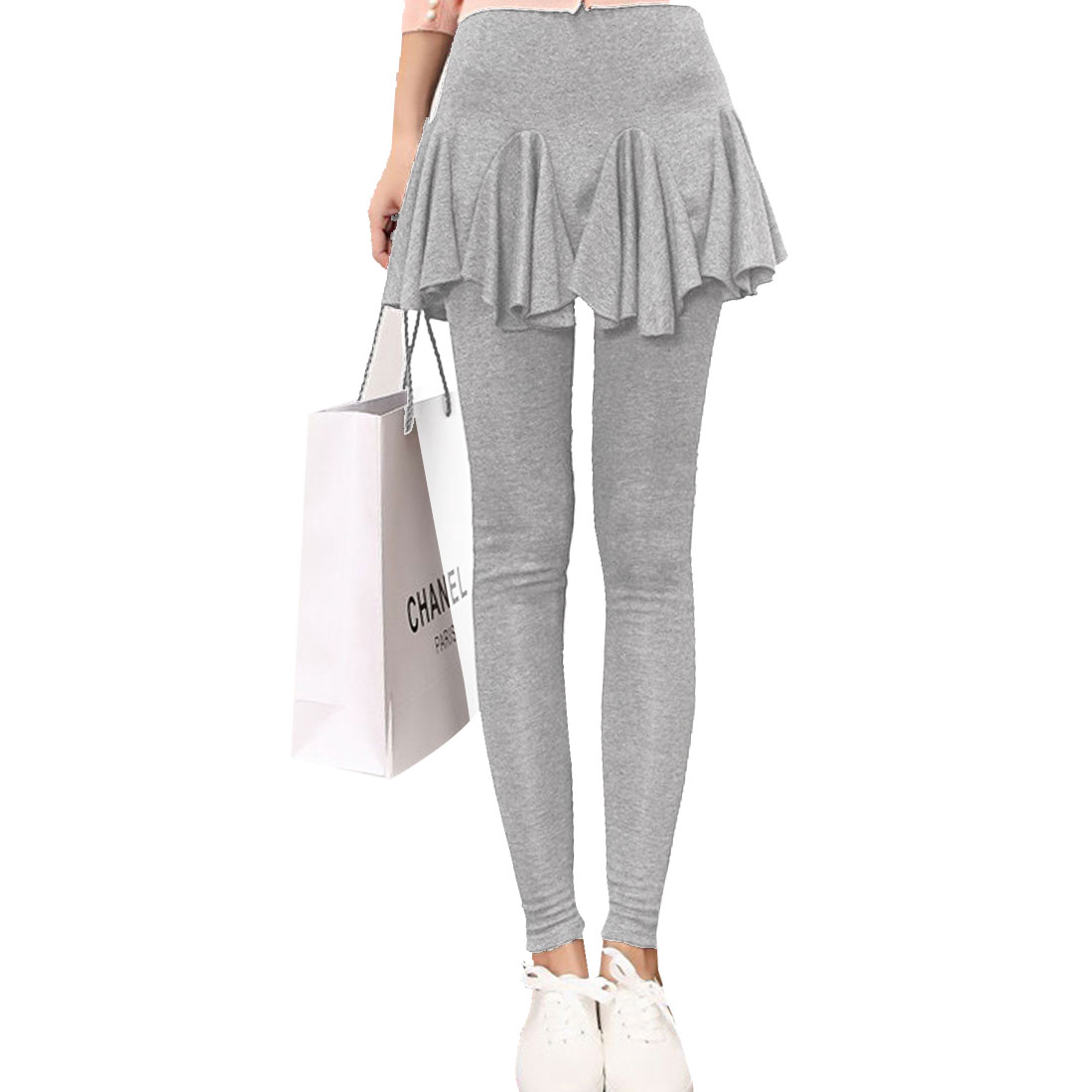 Women Elastic Waist Layered Design Flounce Hem Skirt Leggings Gray XS