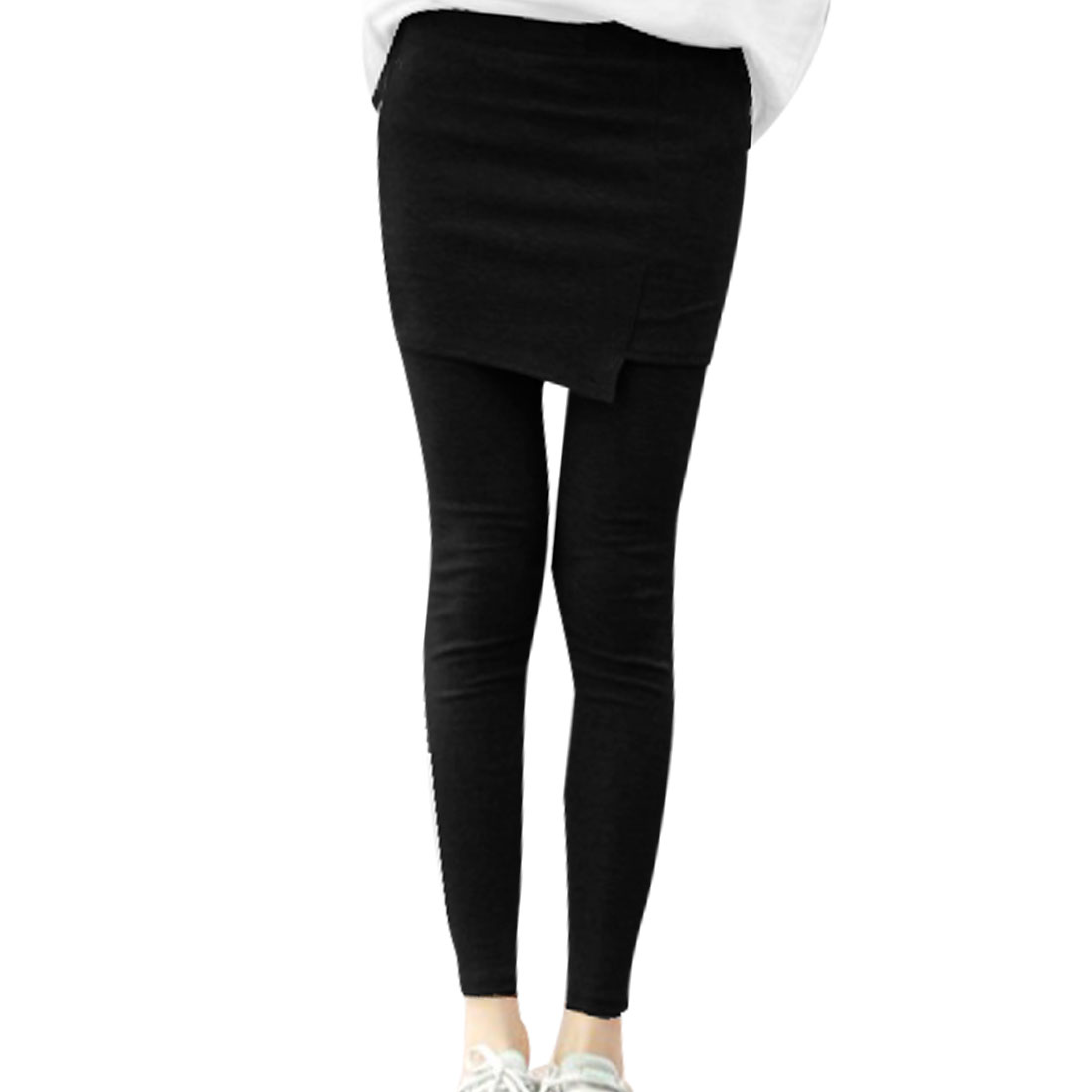 Elastic Waist Fake Two Pieces Thin Pantskirt Leggings Black XS for Women