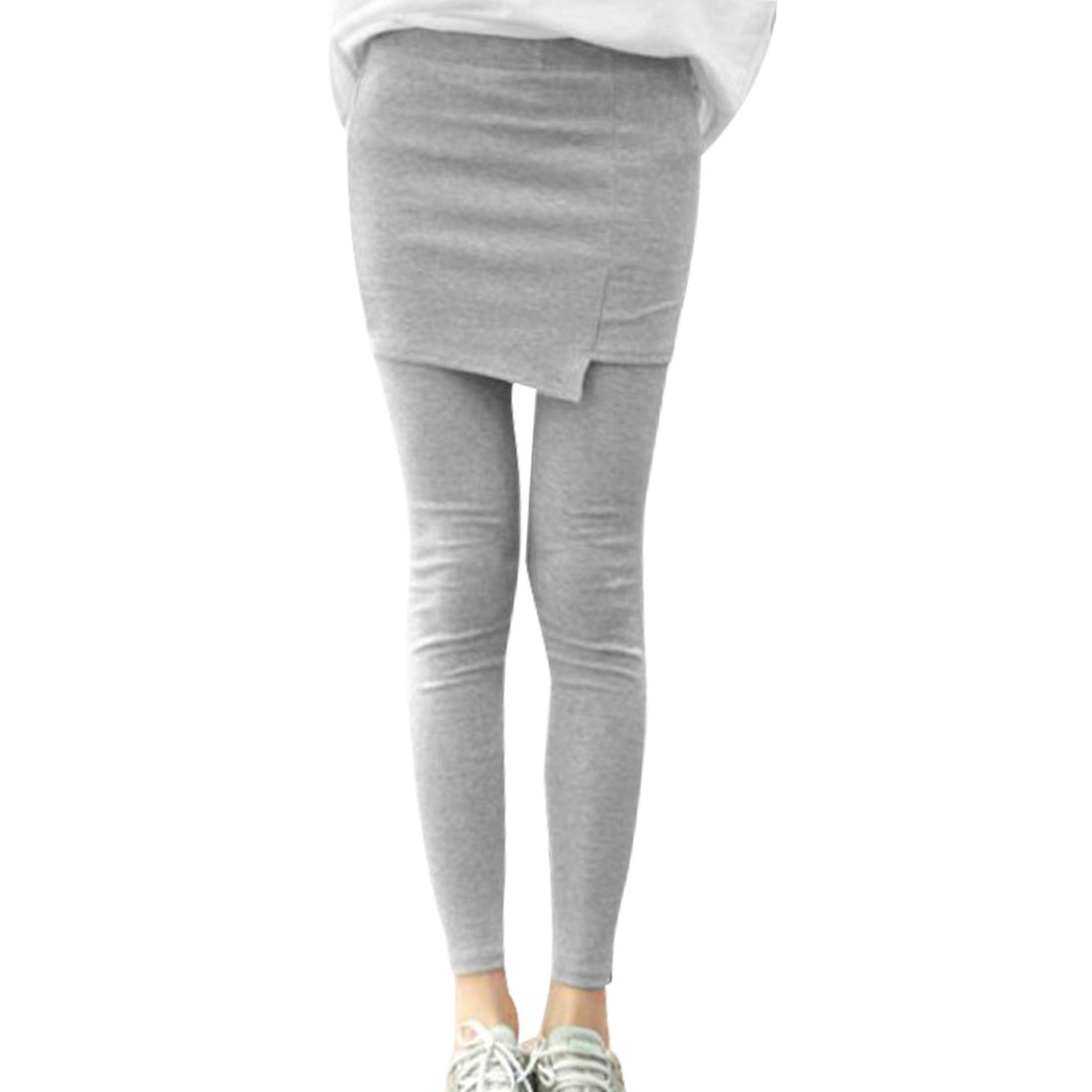 Women Korea Style Hip Tight Skinny Full Length Skirt Leggings Gray XS