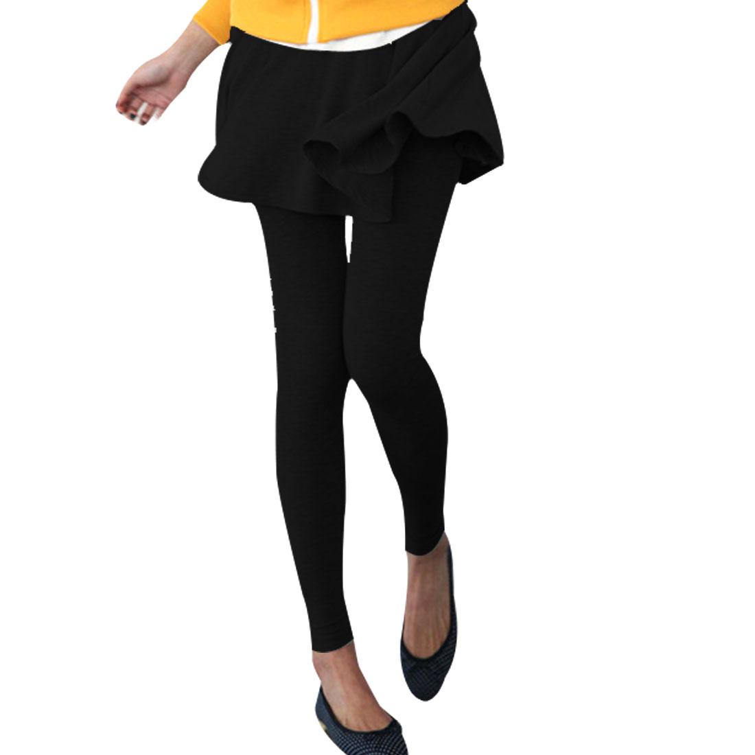 Women Ruffled Hem Slim Fit Autumn Stylish Pantskirt Leggings Black XS