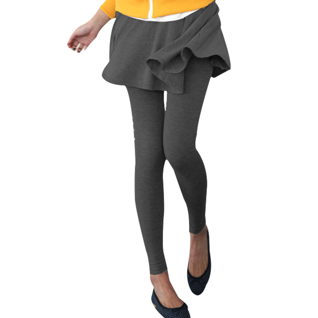Dark Gray Stretchy Waist Fake 2 Pieces Thin Pantskirt Leggings XS for Lady
