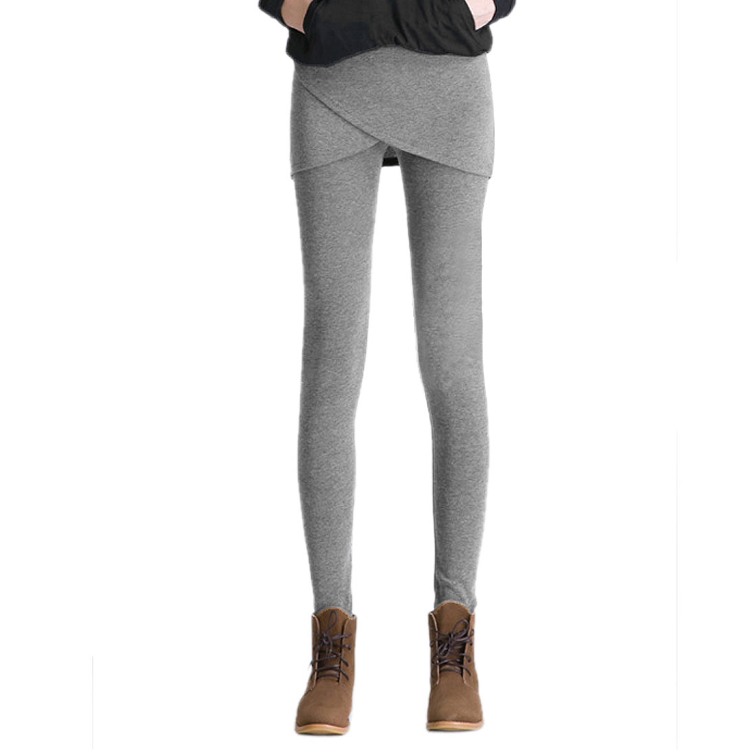 XS Gray Cropped Hem Footless Stretchy Waist Warm Long Pants Skirt Leggings