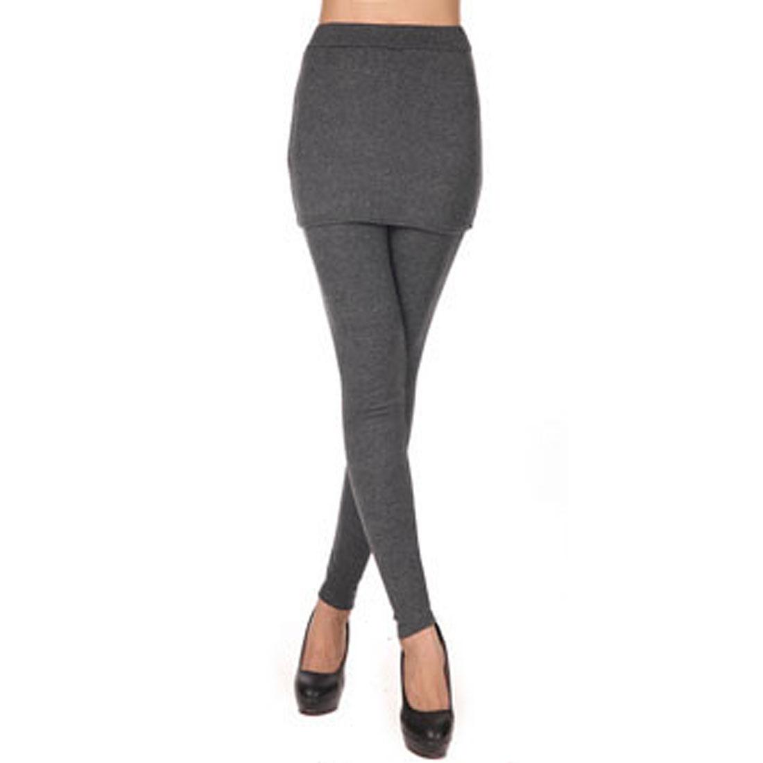 Ladies Winter Elastic Waist Thin Closefitting Skirt Leggings Dark Gray XS