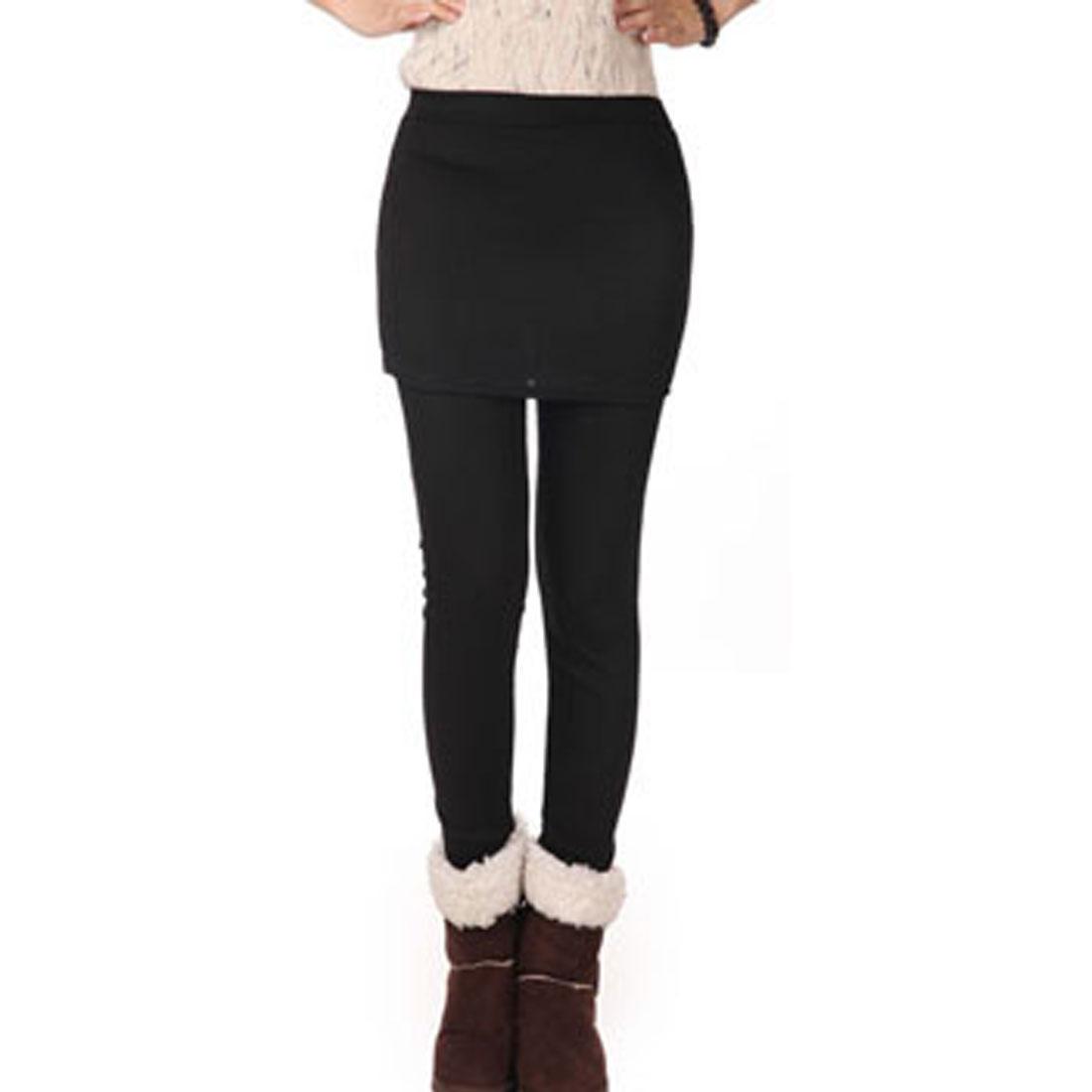 Women Autumn Stretchy Warm Form-Fitting Long Pants Skirt Leggings Black XS