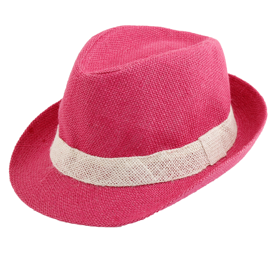Head Decor Round Fedora Rolled Brim Cap Stroll Hat Red for Lady