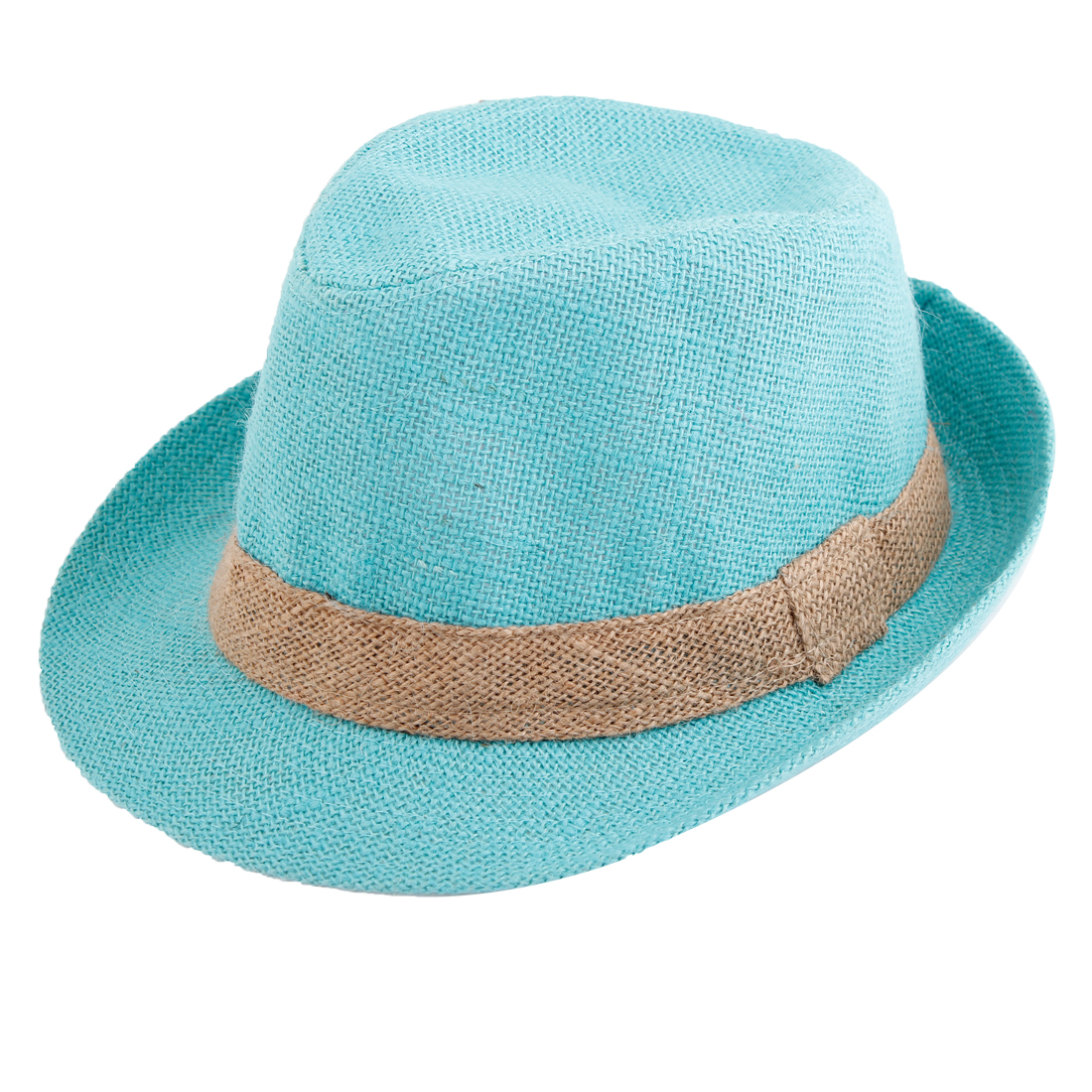 Woman Decoration Round Blue Cotton Polyester Fedora Hat
