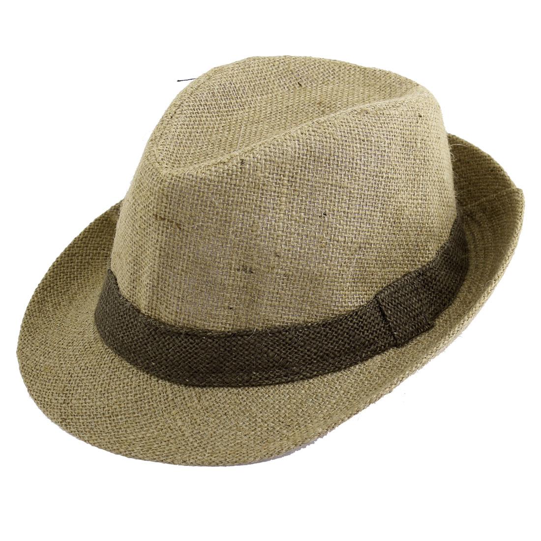 Men Woman Decoration Round Dark Khaki Cotton Polyester Fedora Hat Cap