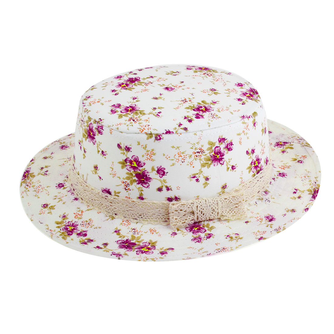 Outdoor Sports Fushcia Floral Prints Flat Top Hat White for Woman