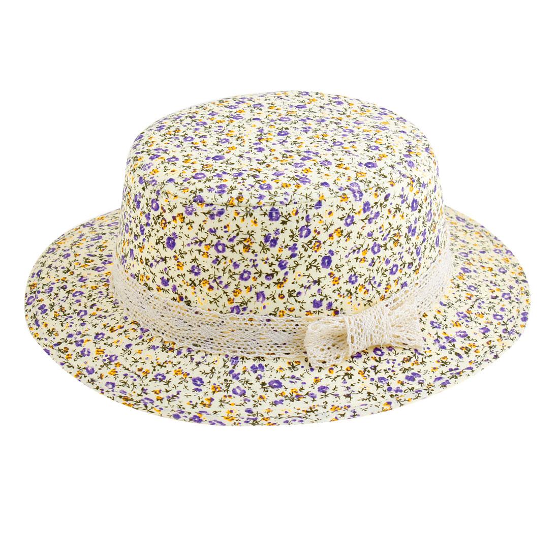 Flower Pattern Flat Top Light Purple Beige Hat for Ladies