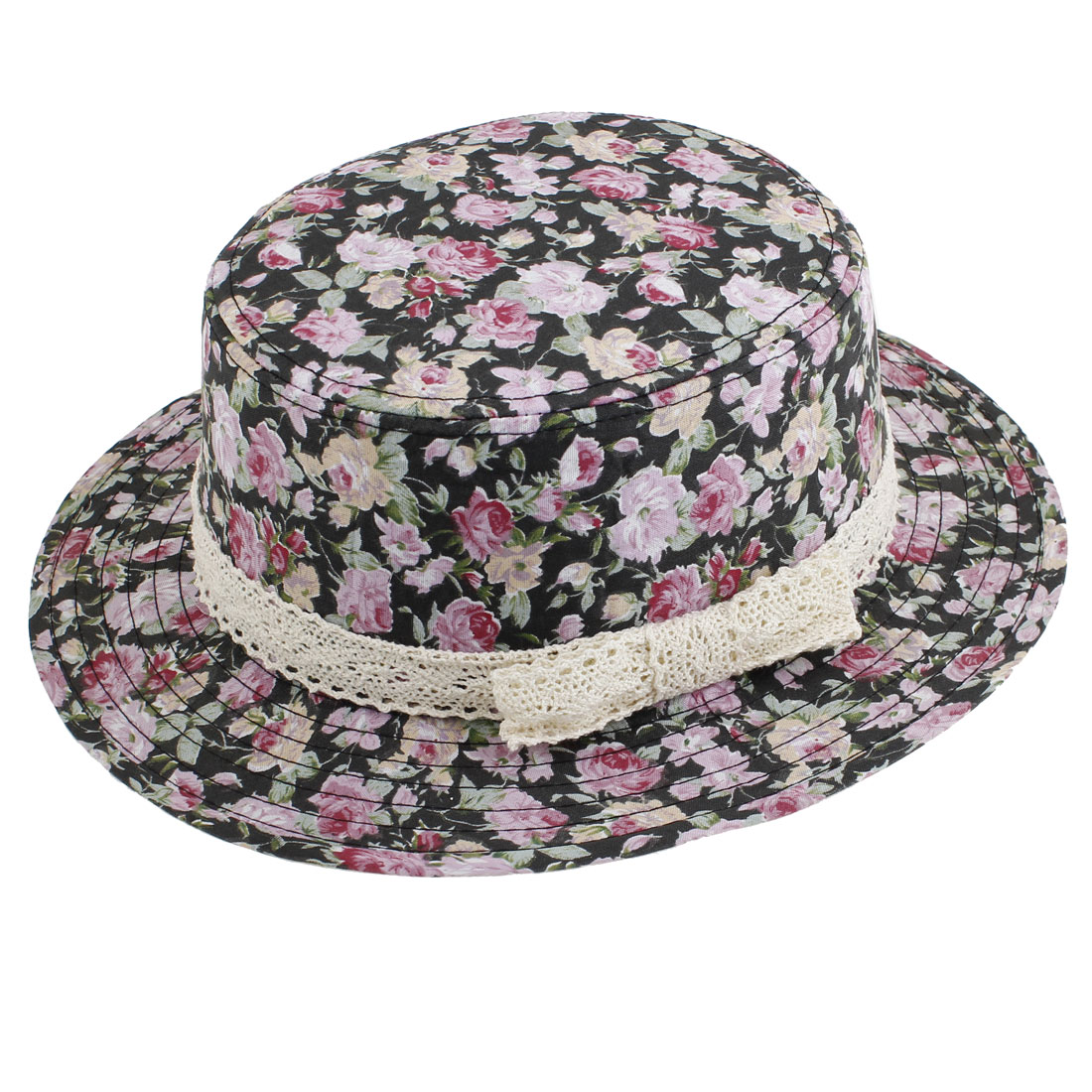 Outdoor Sports Floral Prints Flat Top Hat Red Black for Woman
