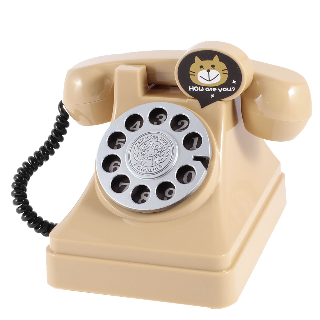 Khaki Plastic Rotary Dial Telephone Shaped Coin Money Holder Saving Pot