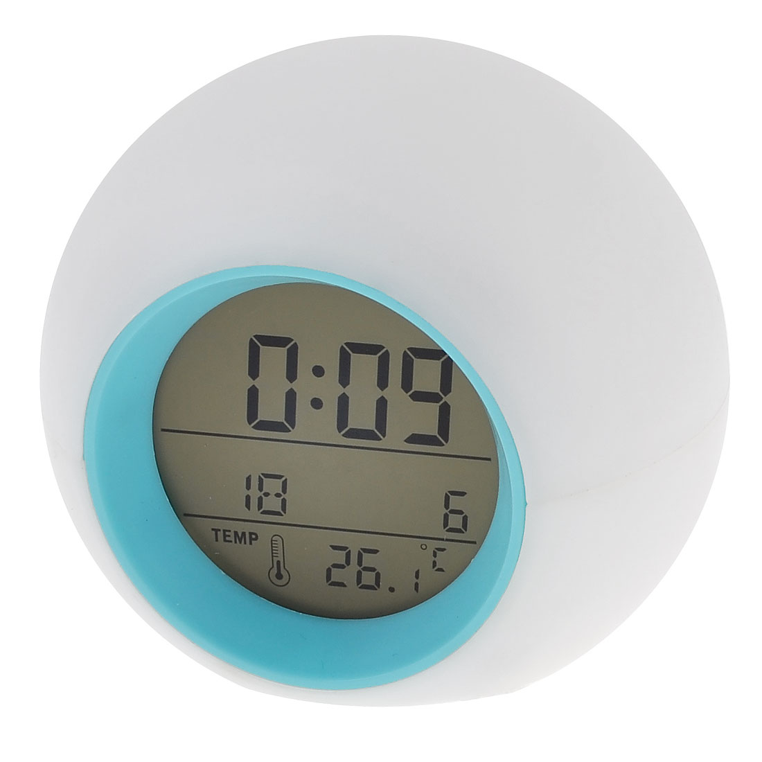 Round Shape 7 Color Change LED LCD Digital Alarm Thermometer Clock
