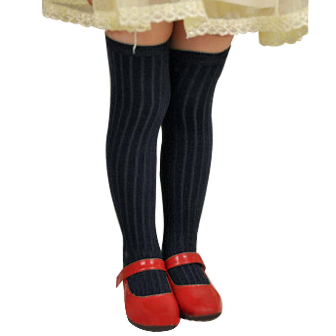 Girls Winter Stretchy Textured Hosiery Princess Socks Sockings Navy Blue