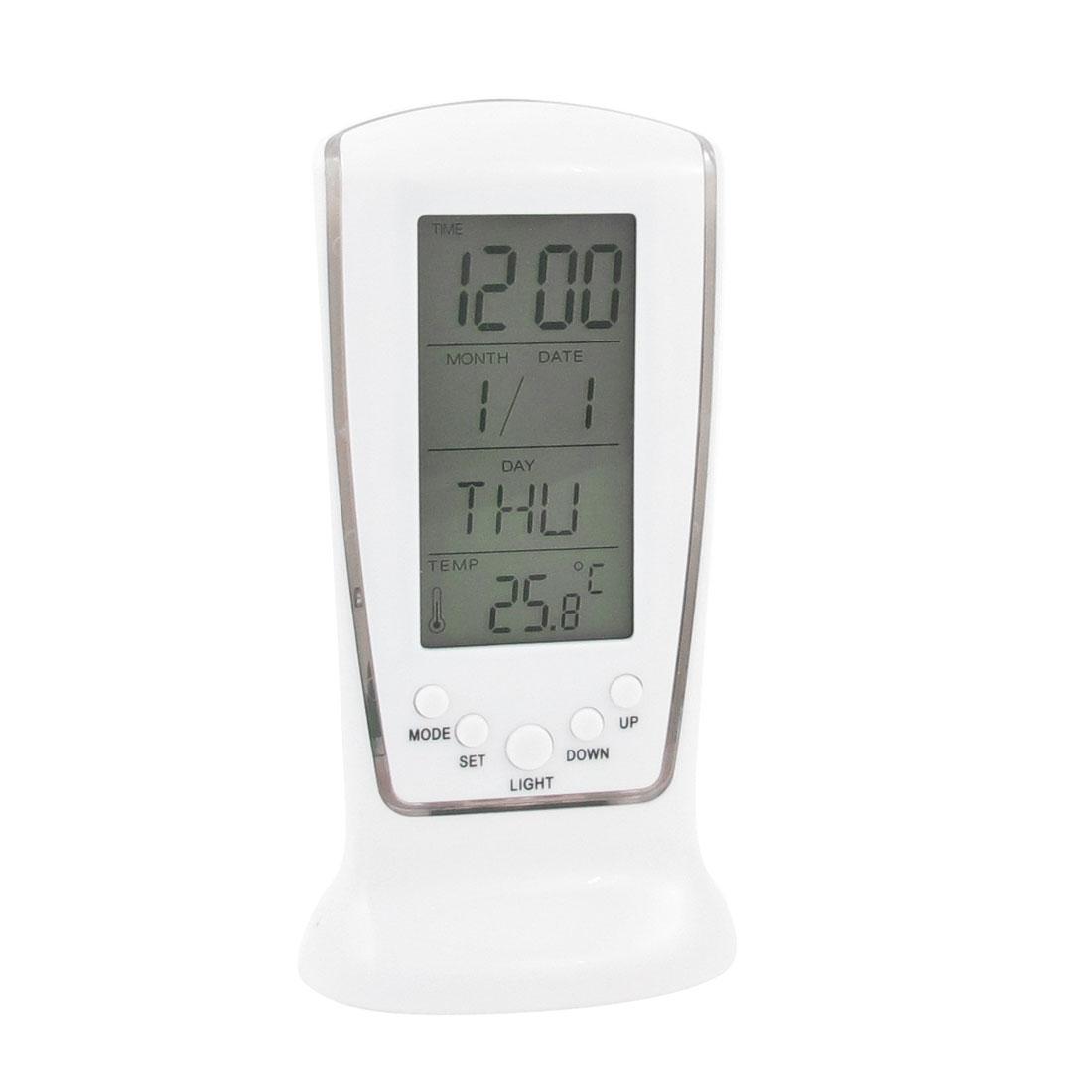 White Gray Plastic LCD Display Digital Alarm Thermometer Clock Timer