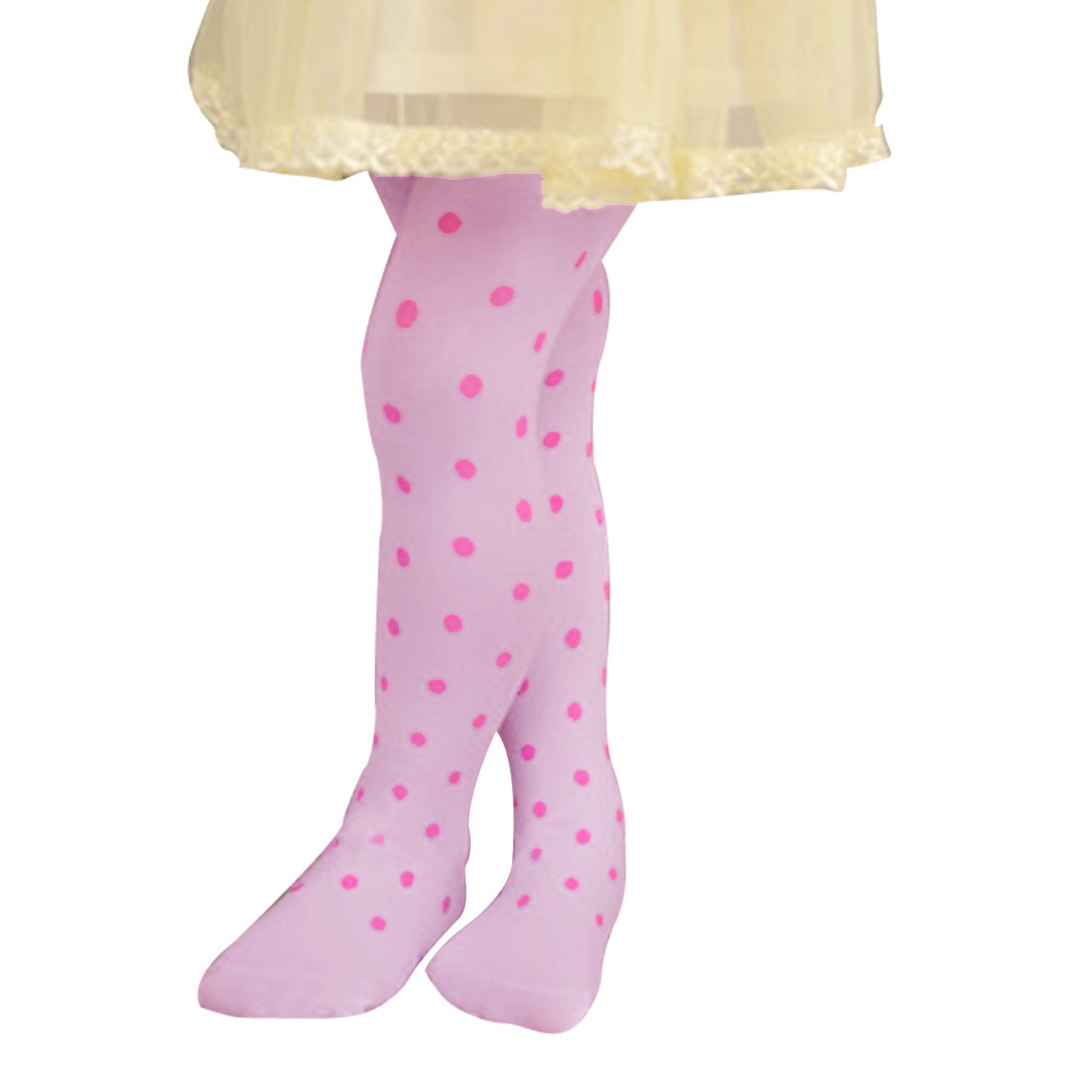11-15T Girl Dots Print Spring Autumn Lovely Footed Pantyhose Hosiery Pink XL