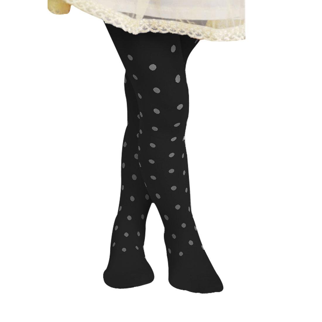 11-15 Age Girls Polka Dots Printed Stretch Bottoming Socks Leggings Black XL