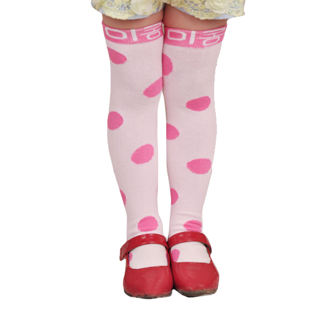 2-8T Kids Toddlers Girls Fuchsia Spotty Print Soft Stretch Knee High Socks Pink