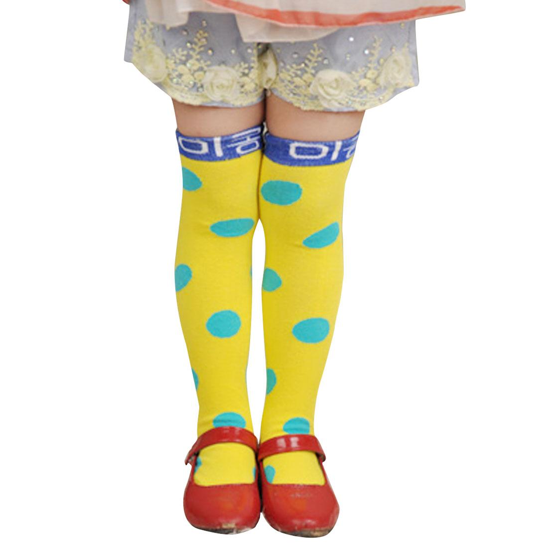 Polka Dots Pattern Footwear Princess Sockings Yellow Blue for 2-8Y Child Girls