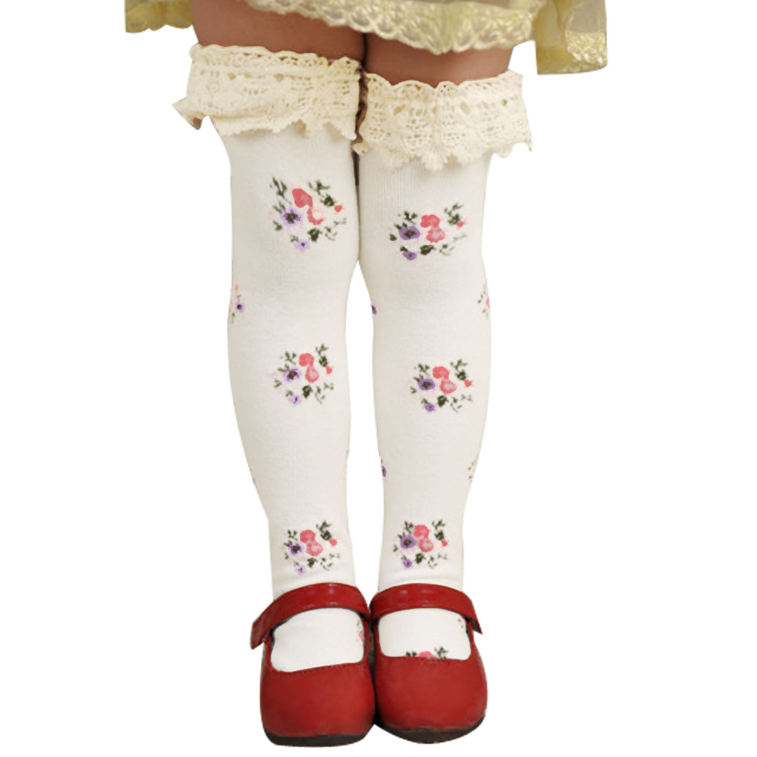 Grils Charming Textured Stretch Cuff Footwear Lace Knee Socks Tights White