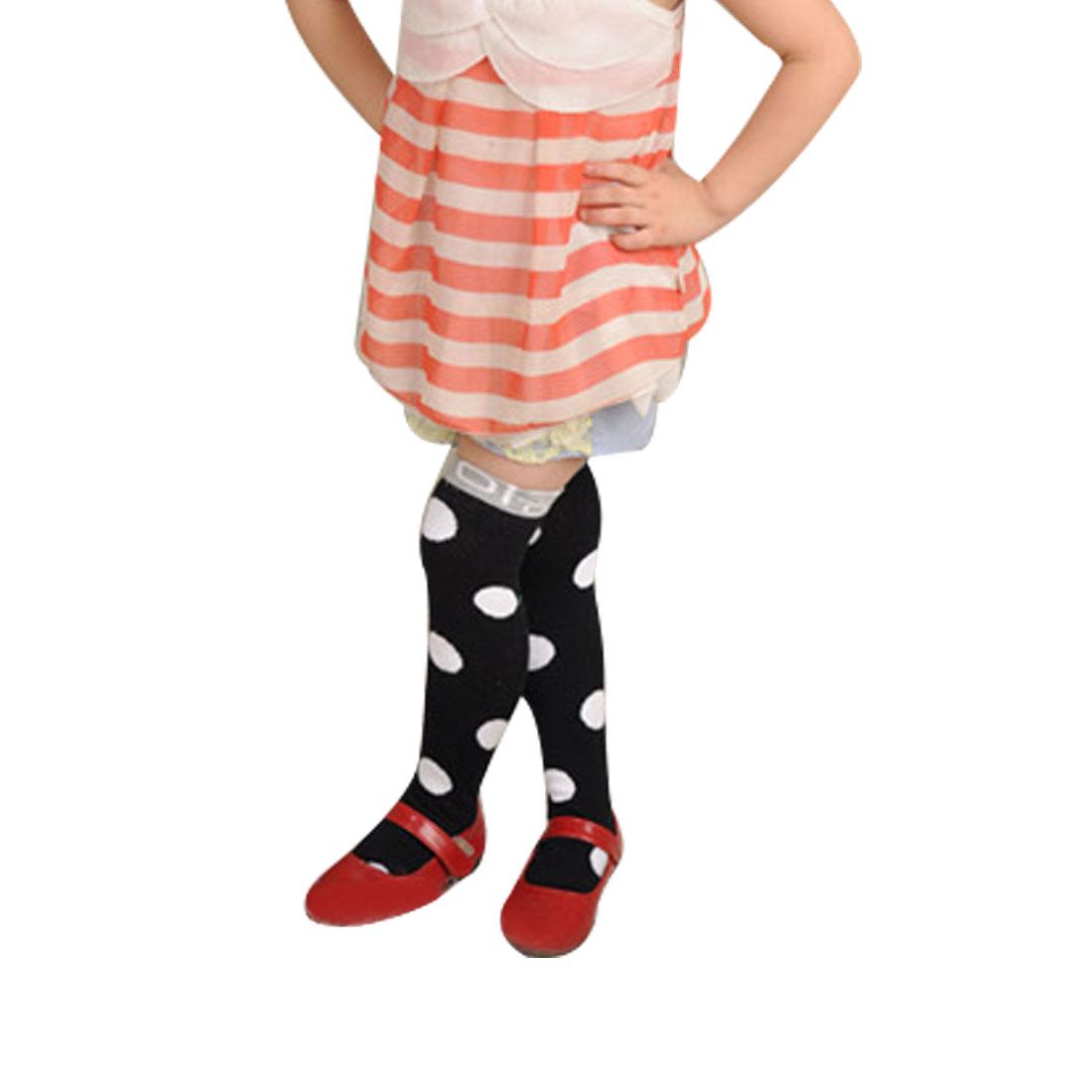 White Polka Dots Pattern Footwear Princess Sockings Black for 2-8Y Child Girls