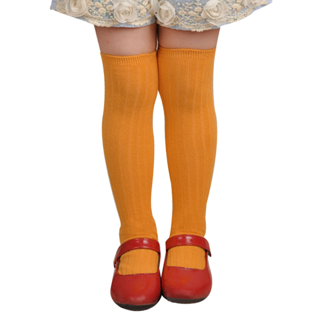 Elastic Cuff Ribbed Design Solid Orange Mid-Calf Length Socks for Girls