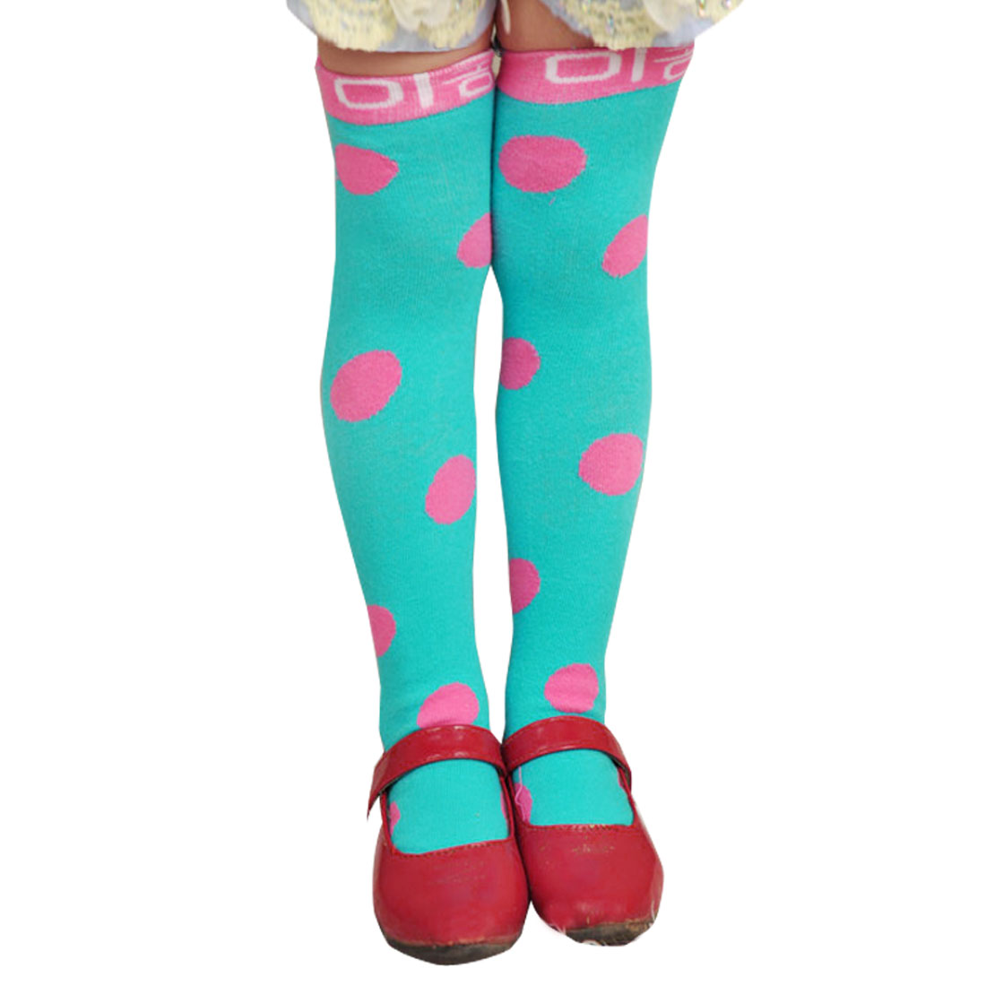 Polka Dots Pattern Footwear Princess Sockings Teal Green for 2-8Y Child Girls