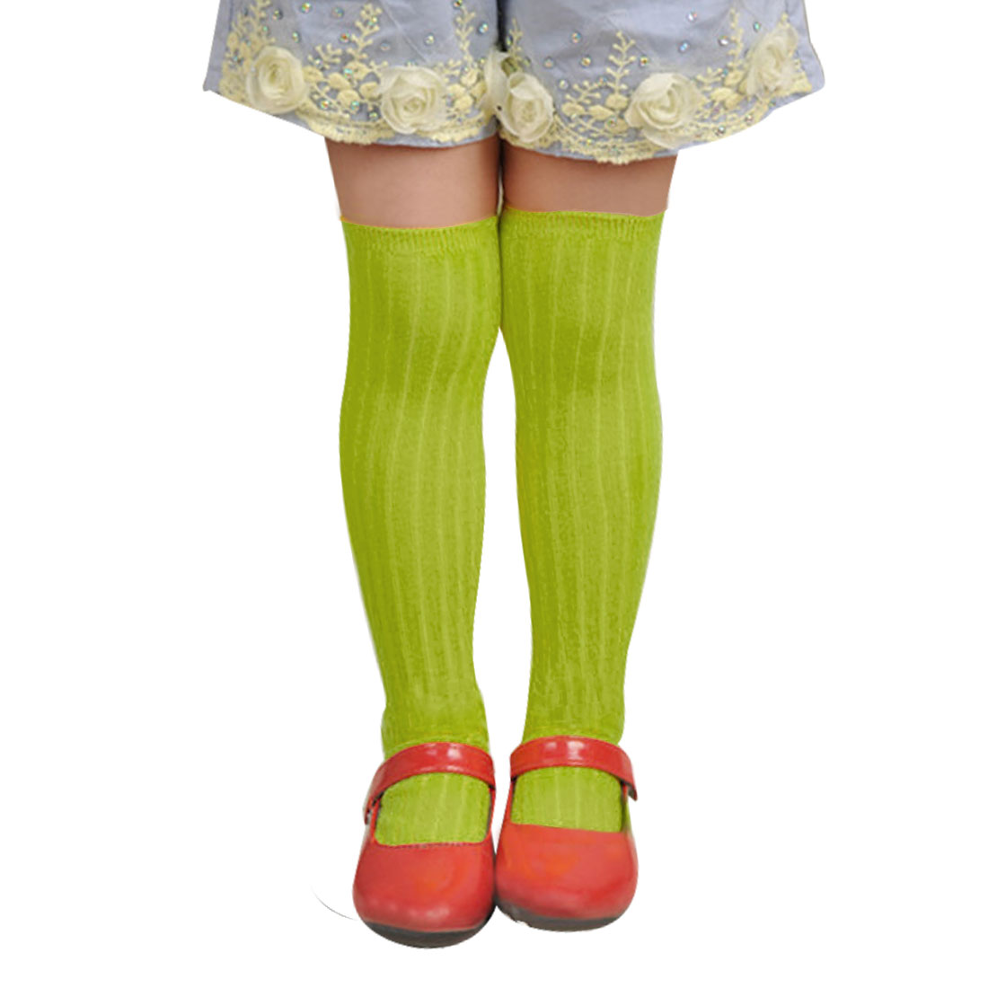 Elastic Cuff Ribbed Design Solid Grass Green Mid-Calf Length Socks for Girls