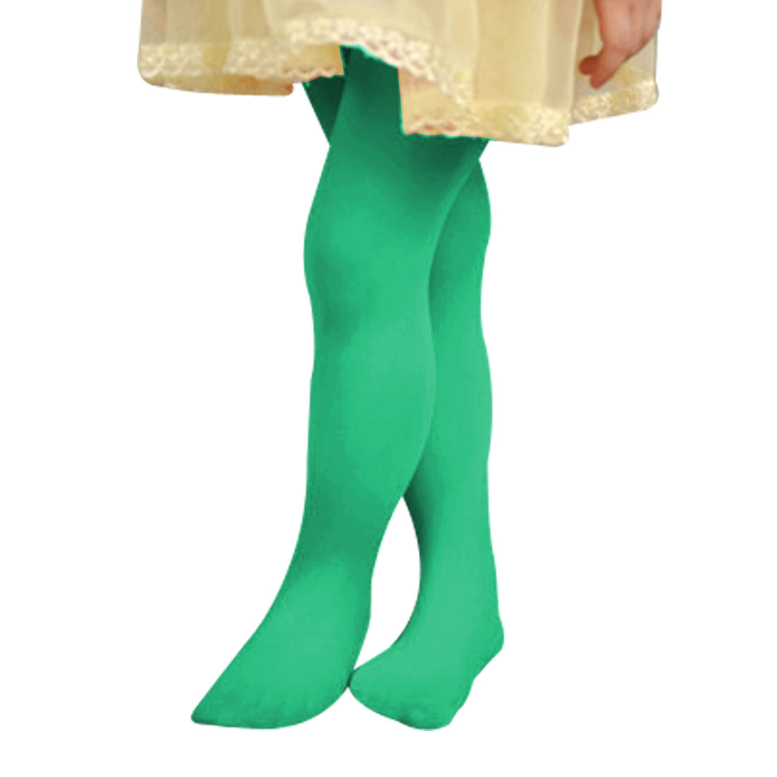 Korea Style Green Stretchy Waist Footed Leggings Tights Size L for 7-11T Girls