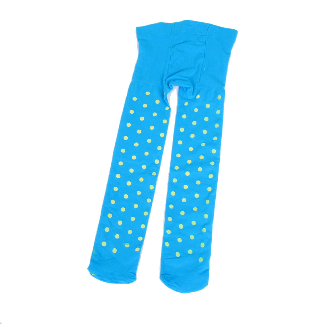 Blue Elastic Waist Yellow Dots Pattern Footed Leggings Tights M for 4-7T Girls