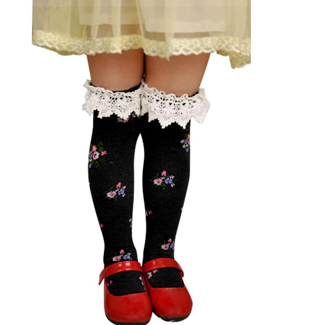 Korea Style Winter Knee Princess Socks Hosiery Navy Blue for Girls Child Kids