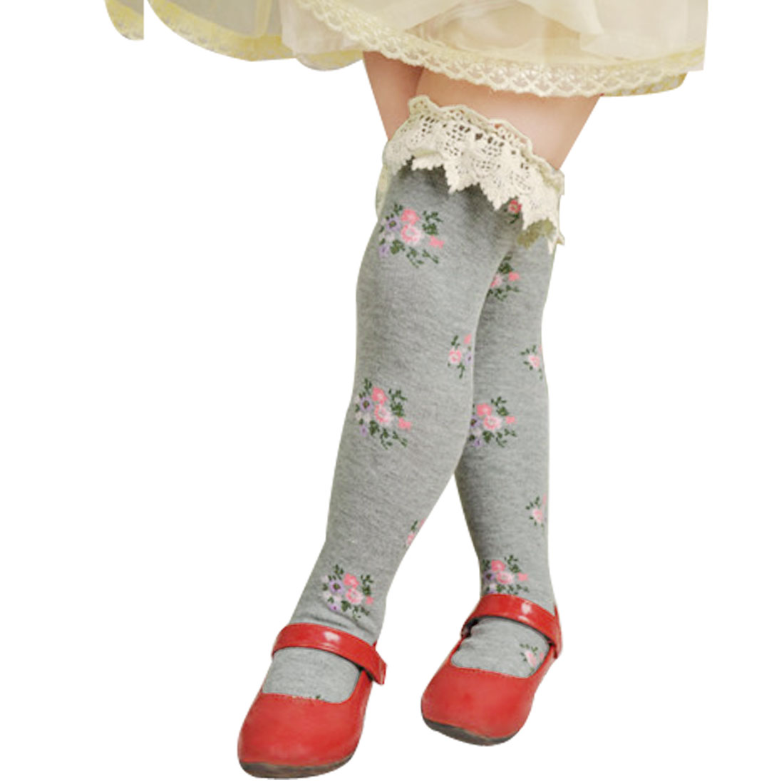 Girls Lace Frilly Elastic Cuff Flowers Pattern Knee Princess Socks Gray