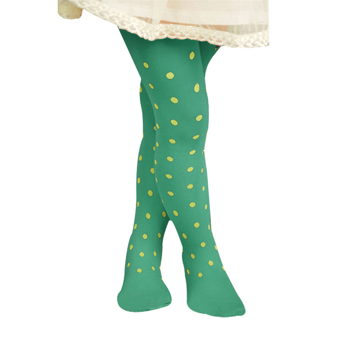 Elastic Waist Dots Pattern Footed Leggings Tights Green M for 4-7T Girls Kids