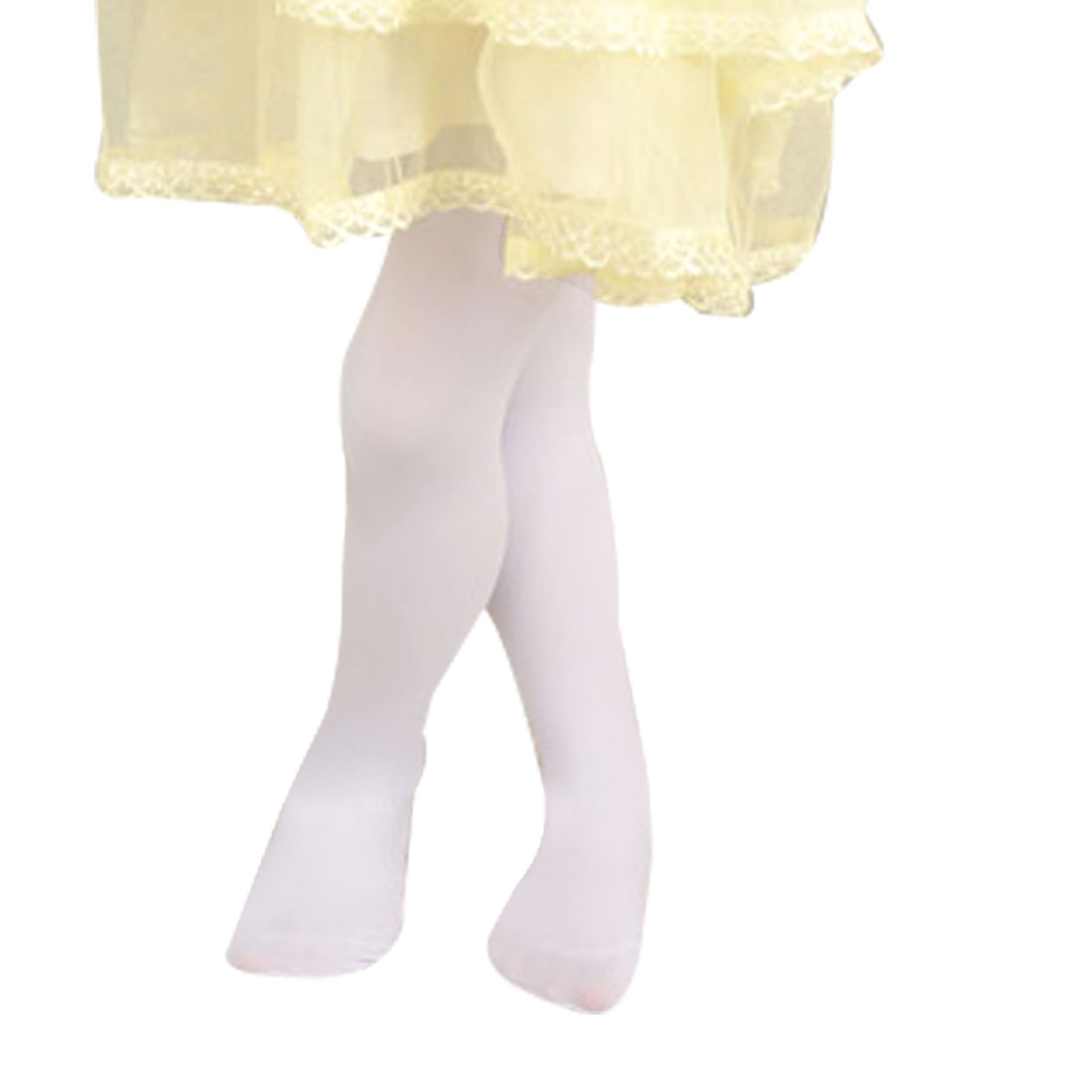 7-11T Girls Kids Elastic Opaque Footed Pantyhose Hosiery Tights Collant White L