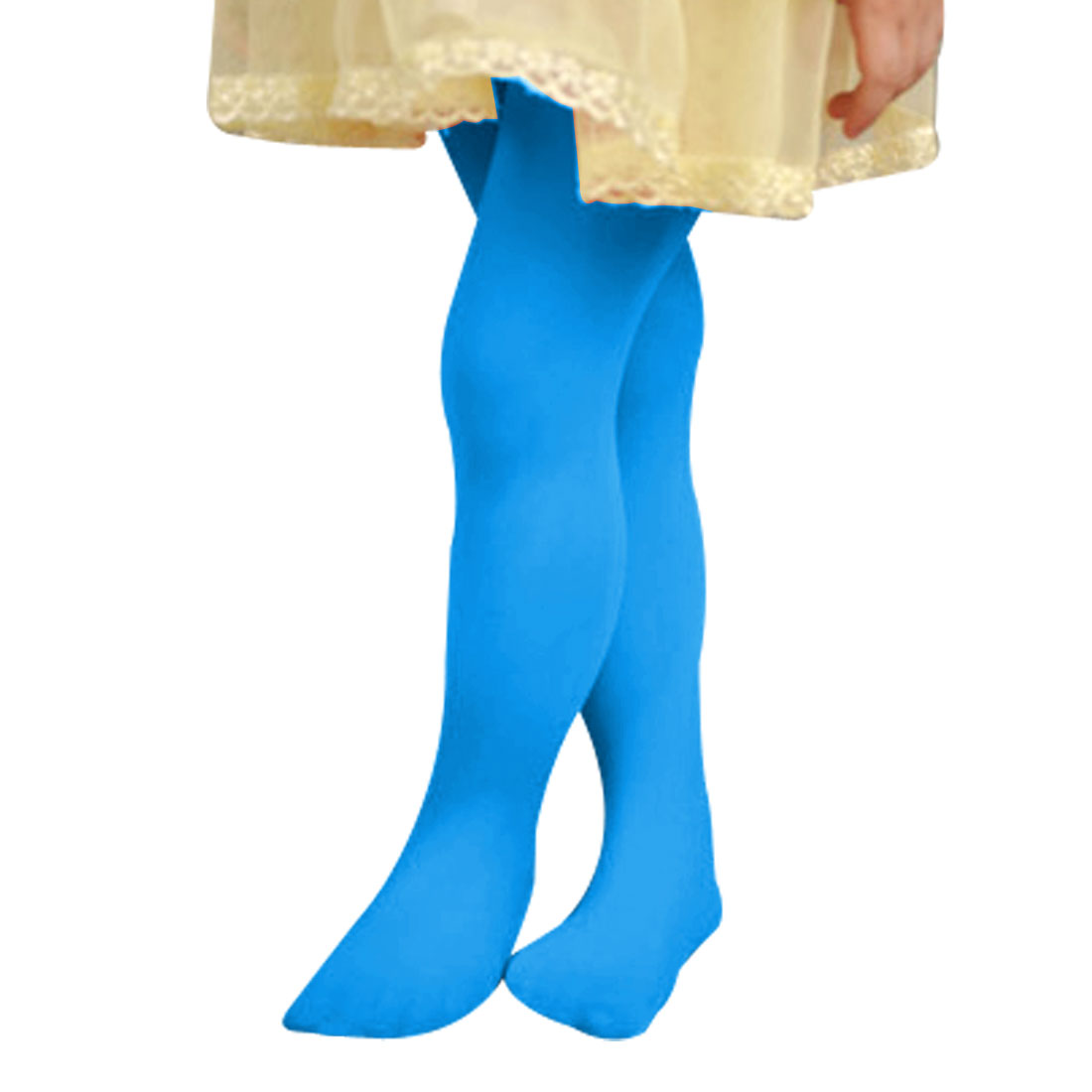 7-11T Girls Kids Elastic Opaque Footed Pantyhose Hosiery Tights Collant Blue L