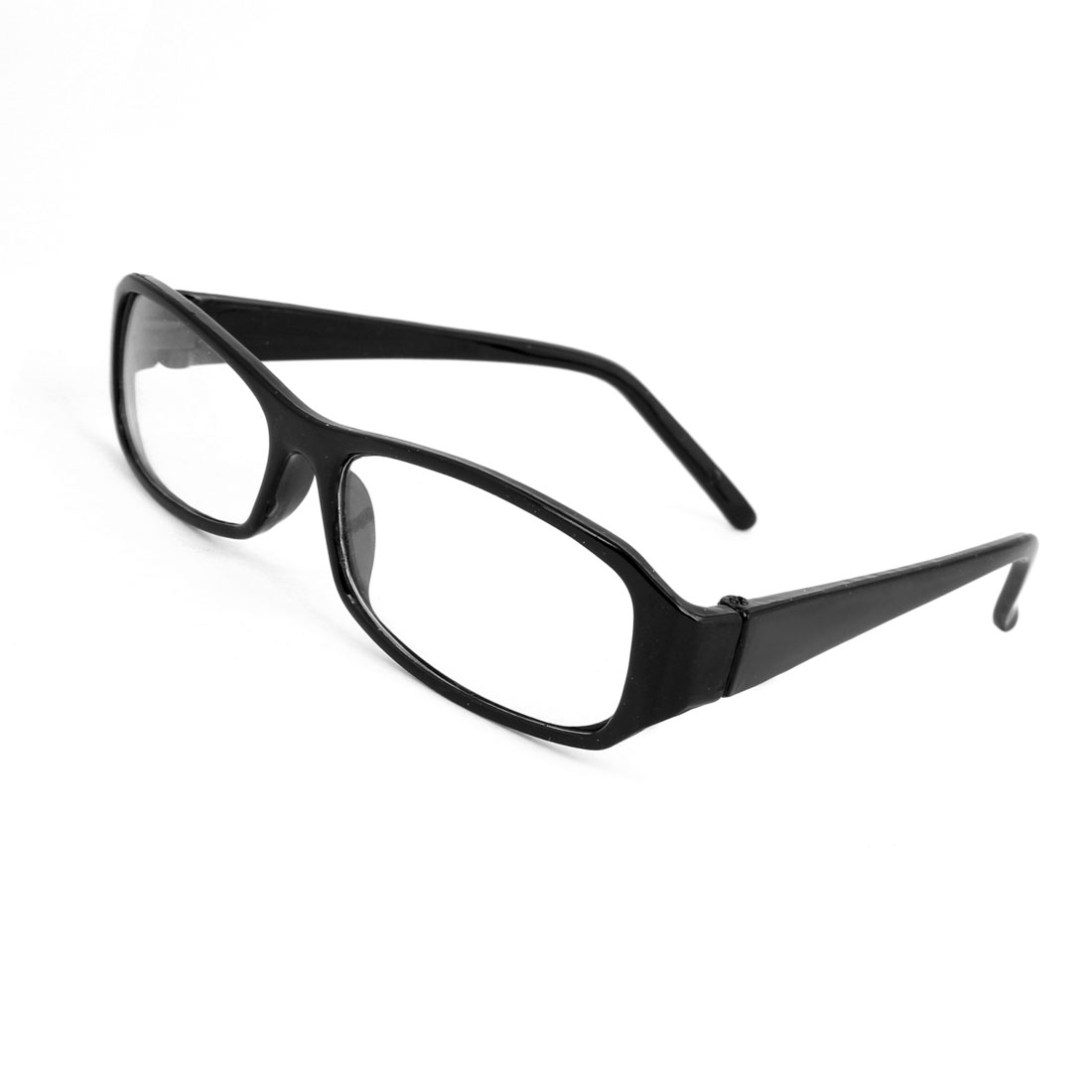 Lady Black Plastic Full Frame Rectangle Clear Lens Plain Glasses