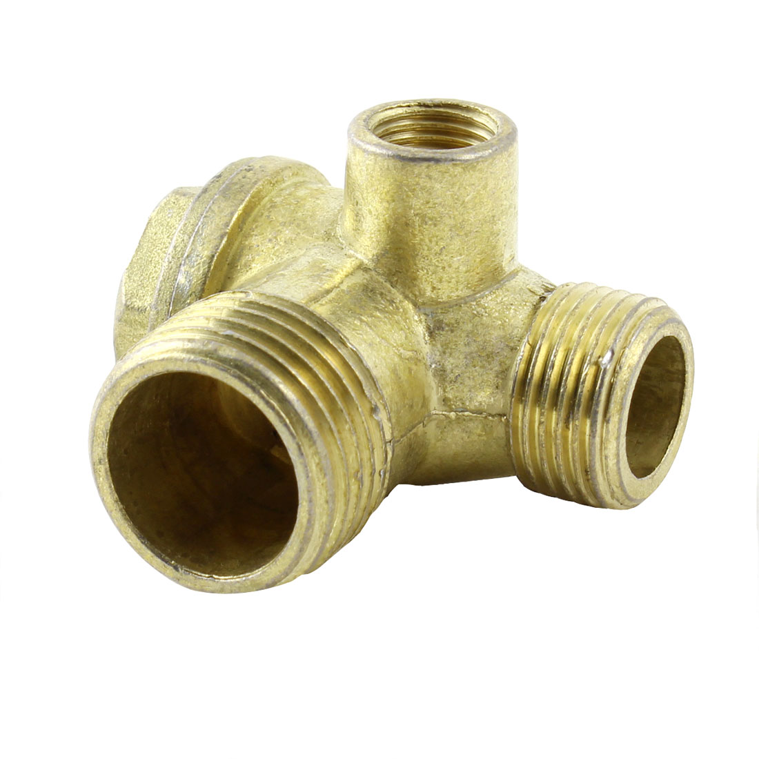 9mm Female Thread 3 Way Brass Check Valve Gold Tone for Air Compressor