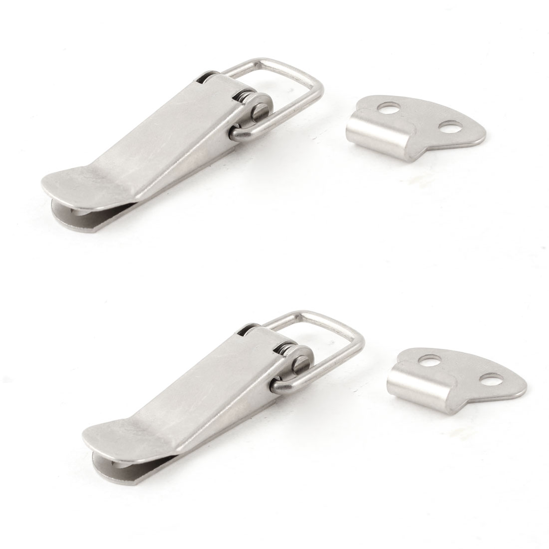 2 Set 5.5cm Length Boxes Case Silver Tone Spring Loaded Toggle Latch Hasp