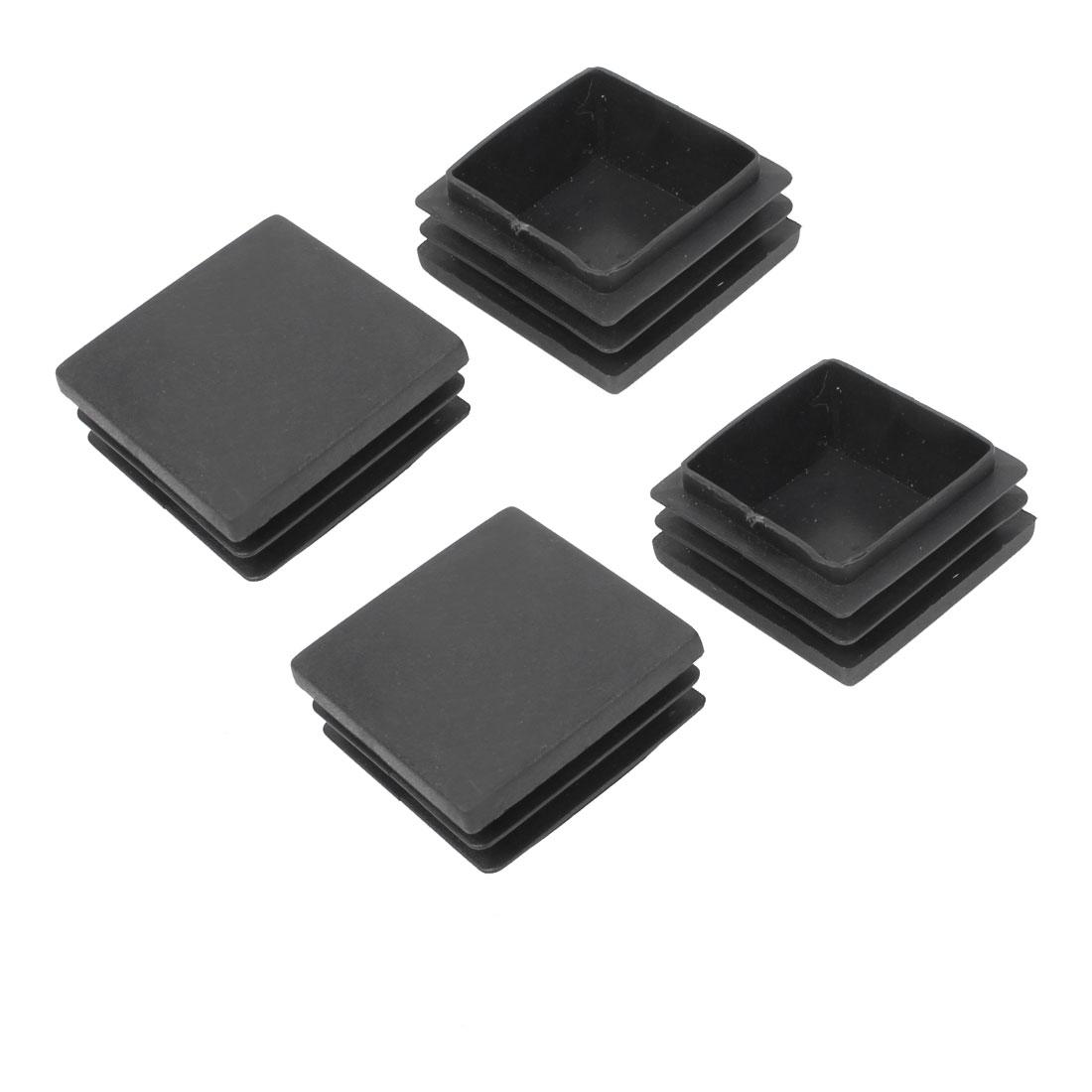39mm x 39mm Plastic Furniture Tube Inserts End Blanking Caps Black 4 Pcs