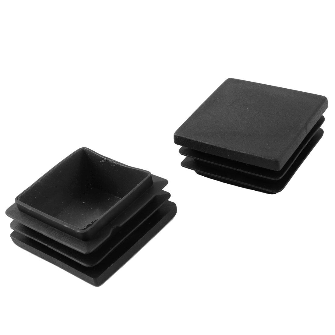 40mm x 40mm Black Hard Plastic Tubing Tube Insert Blanking End Caps 2 Pcs
