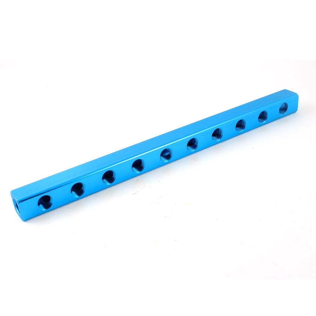 "1/4""PT Threaded Ports 10 Way 13 Port Quick Connect Manifold Splitter Blue"