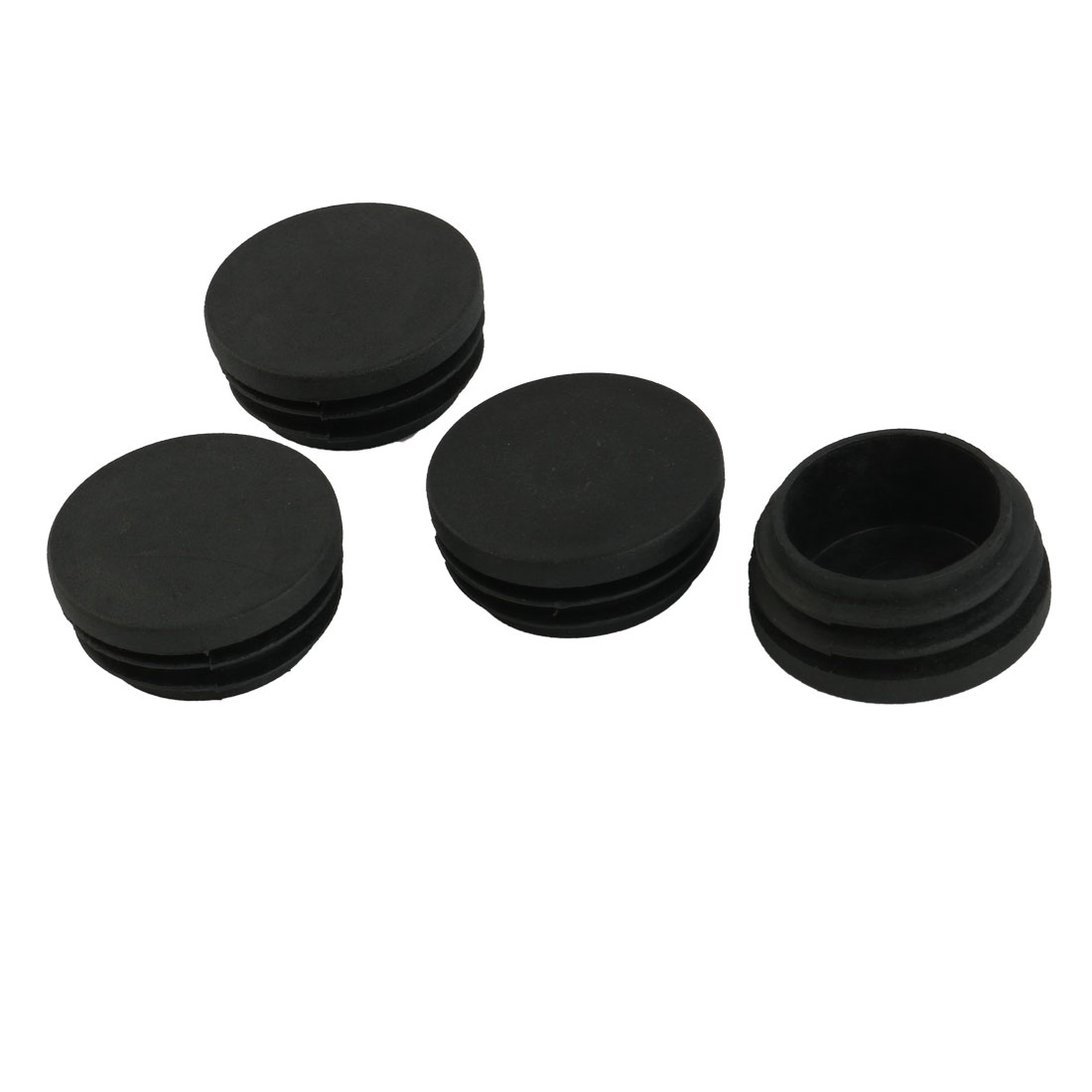 4 Pcs Furniture 38mm Diameter Screw Type Round Tube Insert Cover Black
