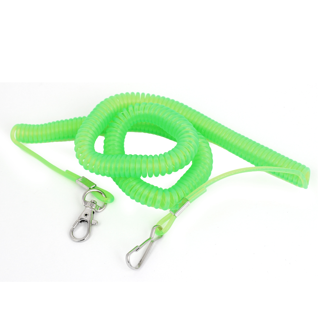 Angling Fishing Rod Net Release Bright Green Coiled Lanyard Rope 5 Meter