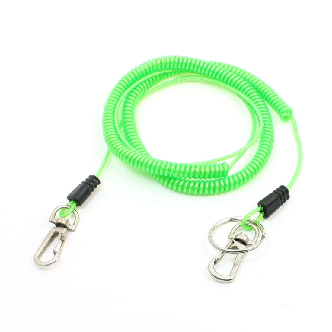 16.4Ft 5M Retractable Elastic Plastic Coil Fishing Lanyard Rope Green