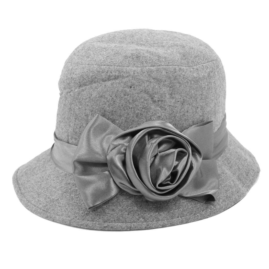 Women Travel Flower Bowtie Ribbon Accent Cloche Bucket Hat Cap Gray
