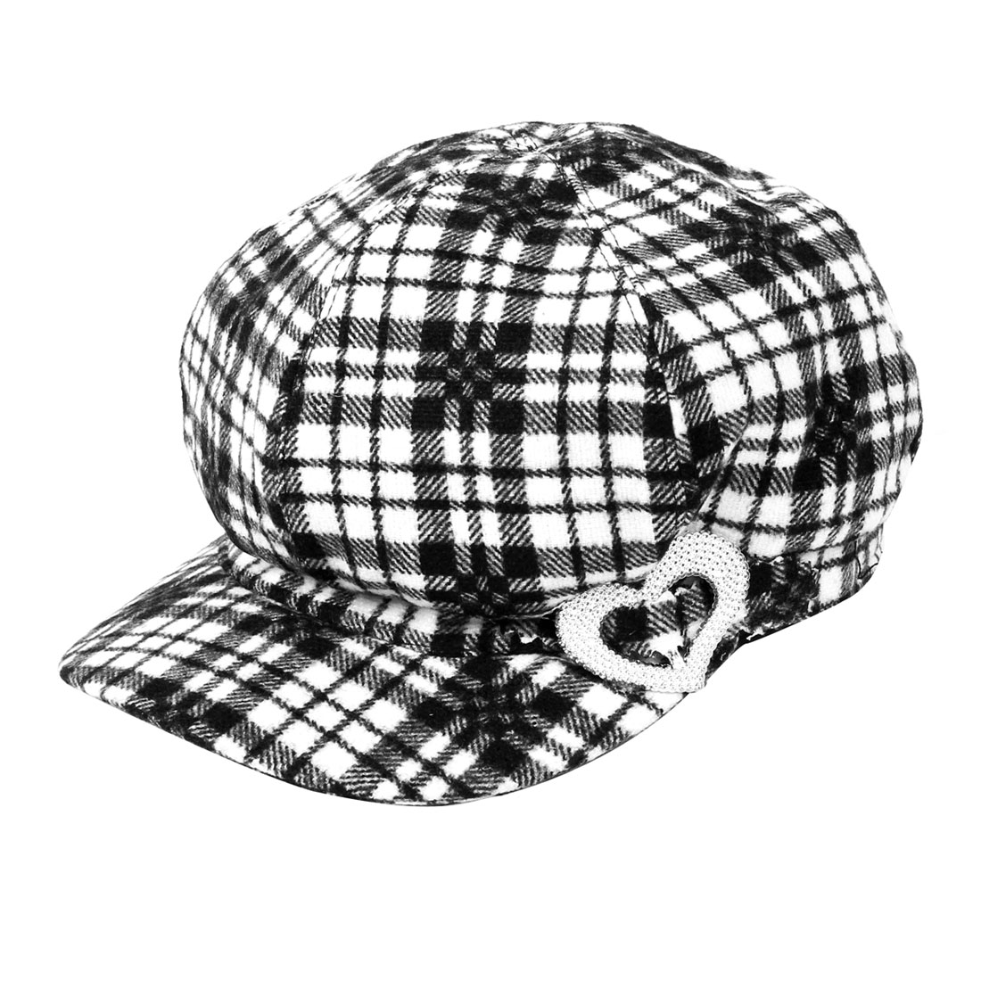 Lady Black White Grid Pattern Heart Accent Casquette Fitted Hat L