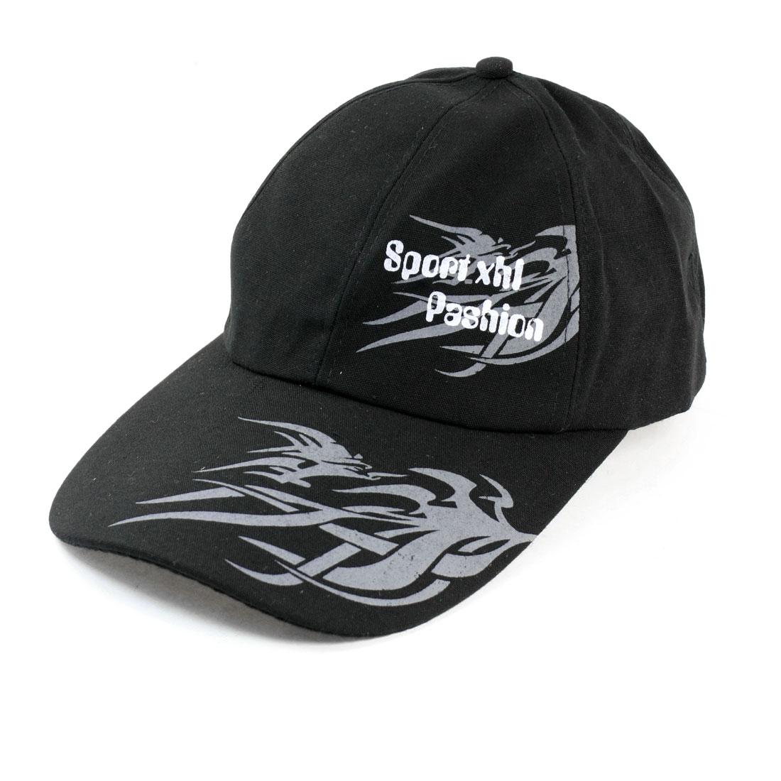 Adjustable Flame Printed Casquette Sun Visor Hat Cap Black for Ladies Man