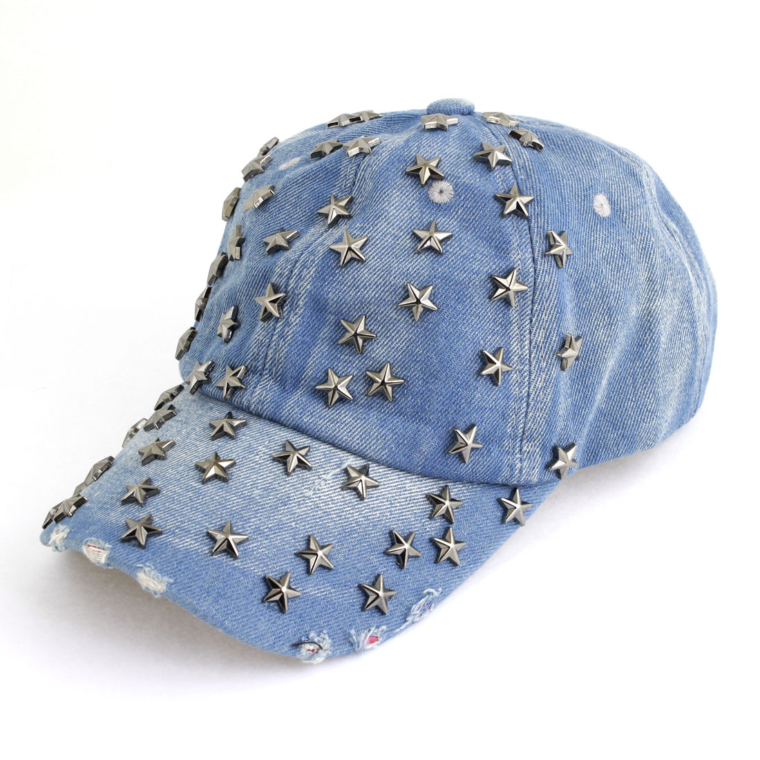 Men Women Pale Blue Metal Star Decor Buttoned Adjustable Band Cap