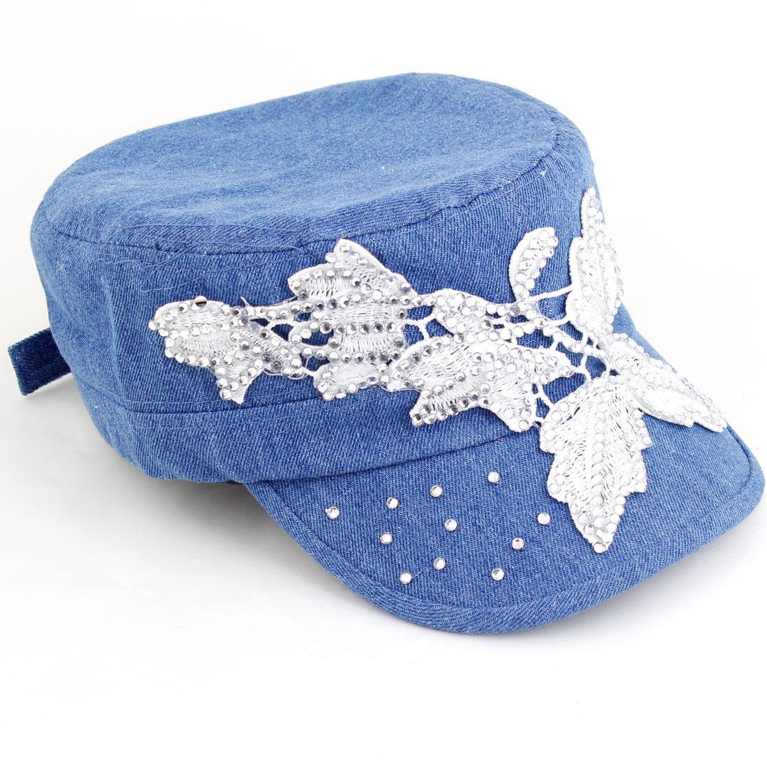 Lady Blue White Bling Bling Rhinestone Decor Adjustable Buckle Visor Cap