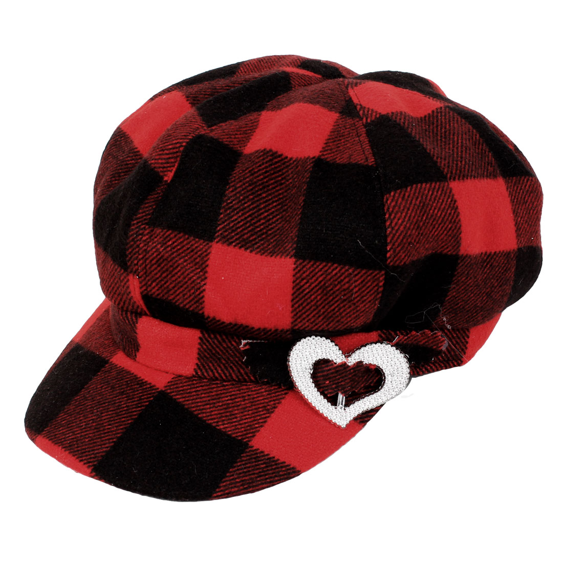 Black Red Cheker Pattern Heart Accent Leisure Hat Cap XL for Women