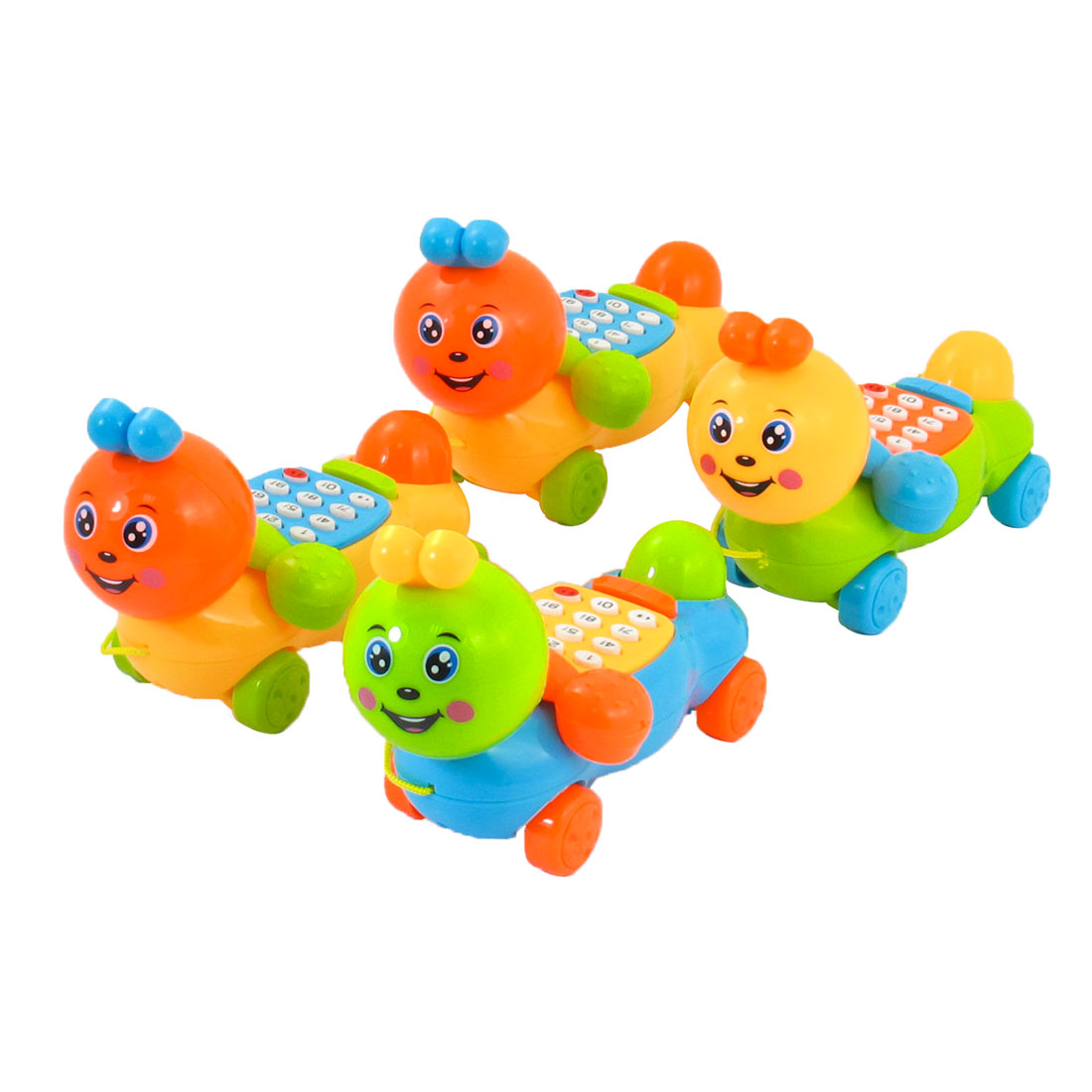 4 Pcs Assorted Color Plastic Caterpillar Shapes Music Telephone Toy for Children